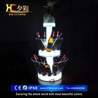 酒吧三层洋酒展酒柜亚克力冰桶LED充电七彩香槟酒座三层发光桶