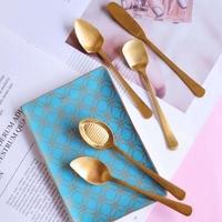 创意镀金草莓勺蛋糕雪糕勺水果勺烘焙坊工具黄油刀304不锈钢餐